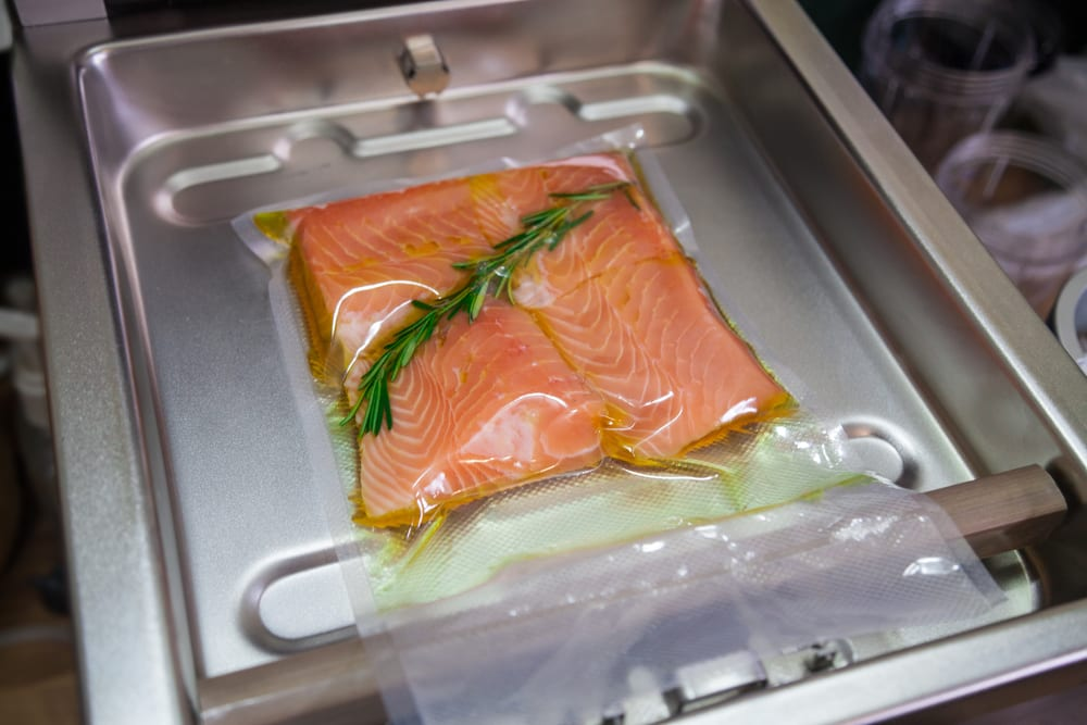 Salmon vacuum sealed in the bag
