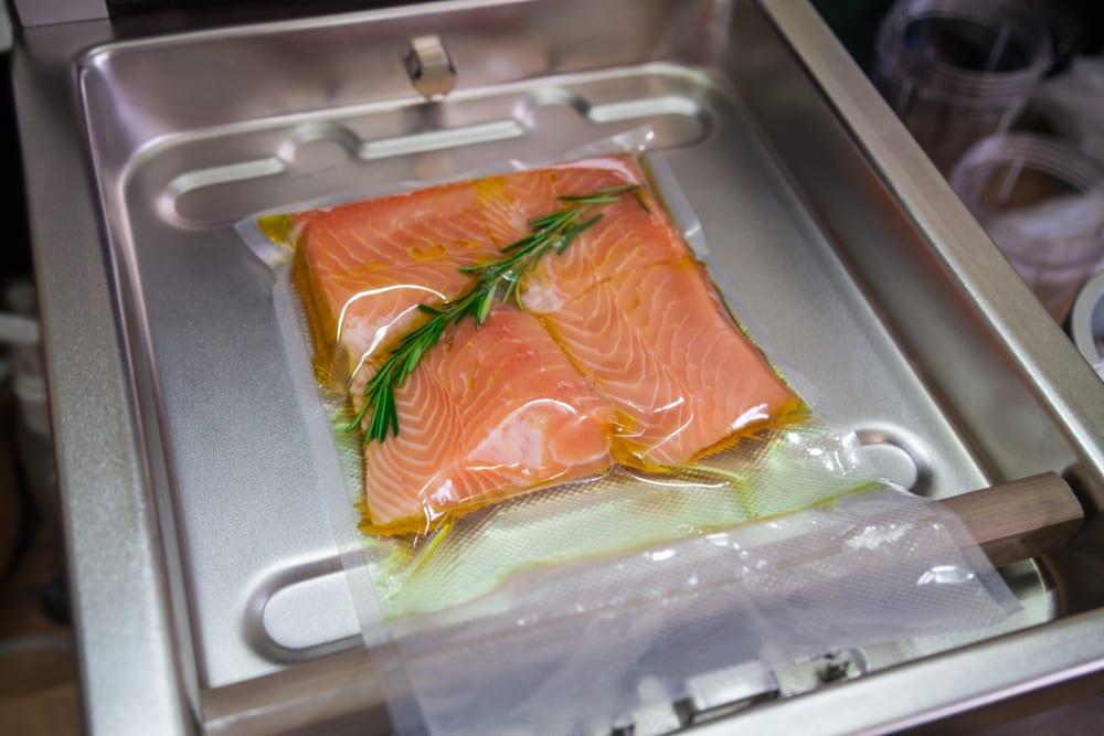 Salmon vacuum sealed in the bag