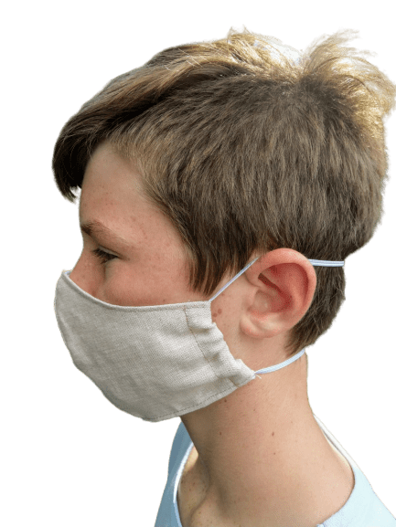 Washable Linen Face Mask - Demonstration - Side View